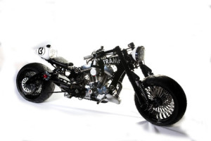 """3rd Prize: Awarded to """"Jonesy"""" for his Sportster-engined one-off custom """"Tramp""""."""