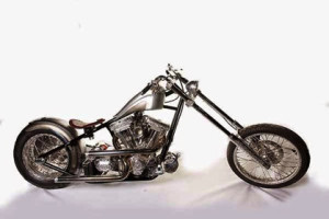 """2nd Prize: Second City Customs, also of the UK took second place with their S&S-engined chopper """"The Rousler"""", which featured a one-off custom frame and extensive engraving work by the legendary Don Blocksidge."""